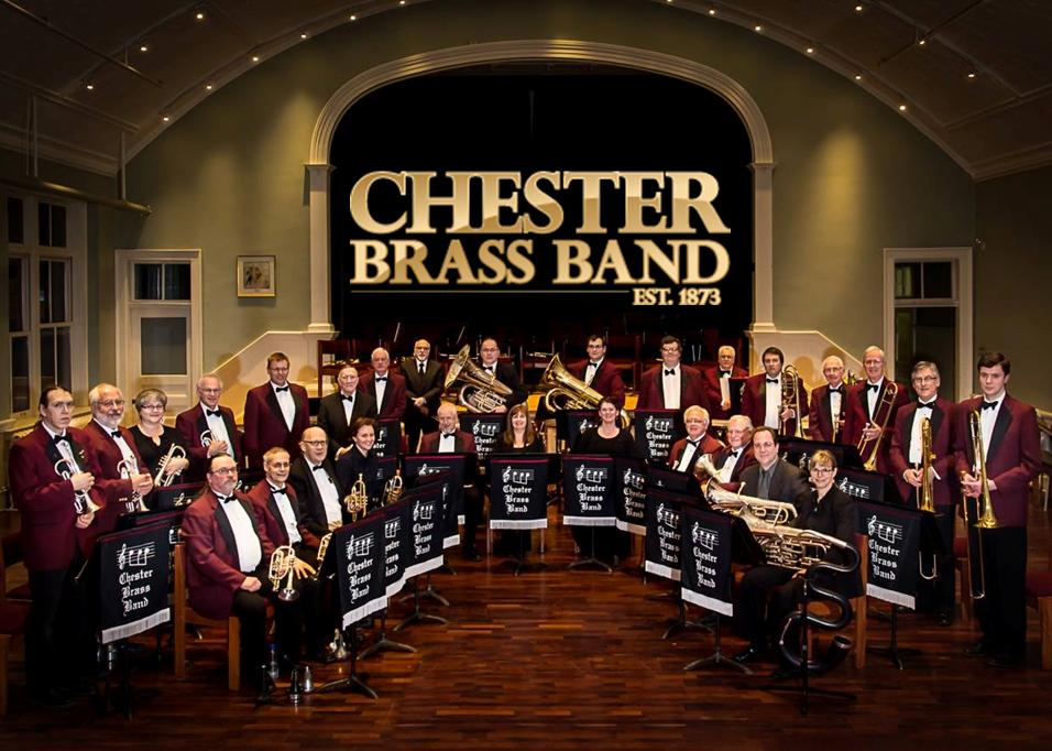 Chester Brass Band - group shot w logo