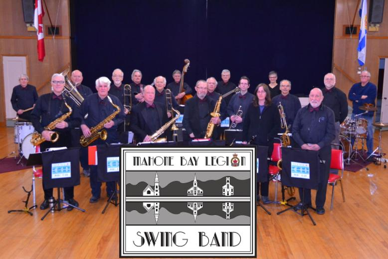 Mahone Bay Legion Swing Band - group shot w logo