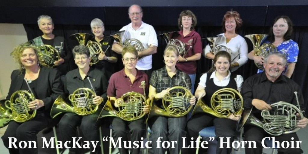 Ron MacKay 'Music for Life' Horn Choir - group shot w logo