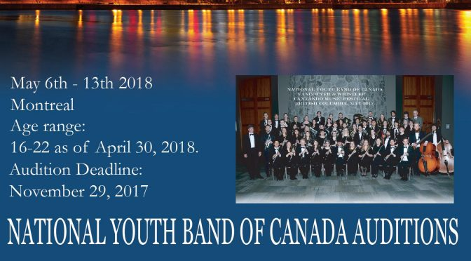 2018 National Youth Band Auditions deadline Nov. 29, 2017